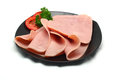 Ham on a plate white background Stock Images
