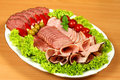 Ham slices on plate Royalty Free Stock Photography