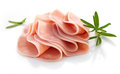 Ham slices pork on white background Royalty Free Stock Photo