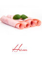 Ham smoked meat slices on white background Stock Photo