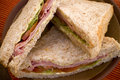 Ham, tomato and lettuce full grain bread sandwich Stock Image