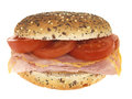 Ham and Tomato Roll Royalty Free Stock Photography