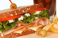 Ham and turkey sandwich on multi grain bread Royalty Free Stock Photo