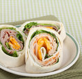 Ham and Turkey Wraps Royalty Free Stock Photo