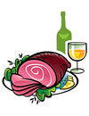 Ham and Wine Royalty Free Stock Photo