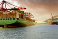 Hamburg, container ship in the harbour Waltershof Royalty Free Stock Photo
