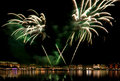 Hamburg, fireworks above Binnenalster lake Royalty Free Stock Images