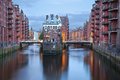 Hamburg germany image of speicherstadt during twilight blue hour Stock Photos