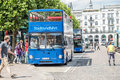 Hamburg , Germany - July 14, 2017: Passengers getting on the blue city tour bus Royalty Free Stock Photo
