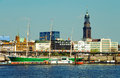 Hamburg harbor famous with michel church and sailing ship rickmer rickmers Stock Image