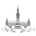 Hamburg landmark germany germany sketch symbol german city travel label europe hand drawn vector town set Royalty Free Stock Images