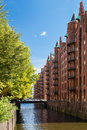 Hamburg landmark speicherstadt old harbor city buildings Royalty Free Stock Photo