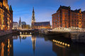 Hamburg speicherstadt image of during twilight blue hour Royalty Free Stock Photography