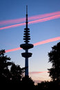 Hamburg television tower after sunset germany june heinrich hertz turm named the german physicist and Royalty Free Stock Image