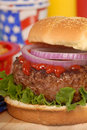 Hamburger in a 4th of July setting Stock Photos