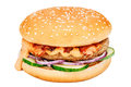 Hamburger with beef, cucumber and onion Royalty Free Stock Photo