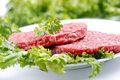 Hamburger beef with vegetables on the table Royalty Free Stock Image
