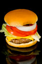 Hamburger on Black Royalty Free Stock Photos