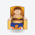 Hamburger boy illustration of the fat look like a big sit on the chair vector file Stock Photo