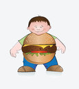 Hamburger boy illustration of the fat look like a big vector file Royalty Free Stock Photos