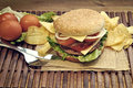 Hamburger with cheese tomato onion and lettuce accompanied by fries Stock Photo