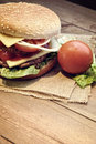 Hamburger with cheese tomato onion and lettuce accompanied by fries Royalty Free Stock Image