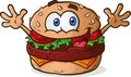 Hamburger cheeseburger cartoon a smiling happy character celebrating with his hands in the air Royalty Free Stock Images
