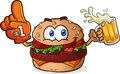 Hamburger cheeseburger sports fan cartoon character a with toppings and cheese smiling and holding a beer mug and wearing a foam Stock Images