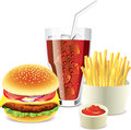 Hamburger cola and french fries photo realistic Stock Photography