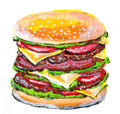 Hamburger color illustration on paper Stock Images