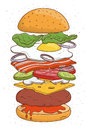 Hamburger concept ingredients. Bun, salad, tomato, cheese, cutlet, egg, bacon, mushrooms, onion, ketchup. Colorful hand