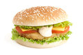 Hamburger with cutlet and vegetables Royalty Free Stock Image