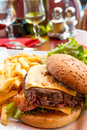 Hamburger de fromage Photographie stock