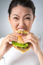 Hamburger eater vertical shot of a wild taking a huge bite Royalty Free Stock Image