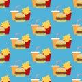 Hamburger Fast Food seamless pattern