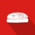 Hamburger Flat Icon With Red Background
