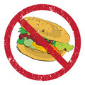Hamburger forbidden banned stamp illustration isolated on white Stock Photography