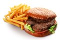 Hamburger and french fries. Royalty Free Stock Photos