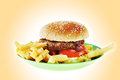 Hamburger with french fries on a green plastic plate the Royalty Free Stock Images