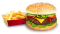 Hamburger and french fries on white background Stock Images