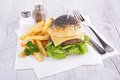 Hamburger and fries fresh french Royalty Free Stock Photo