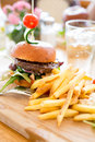 Hamburger with fries. Royalty Free Stock Photo