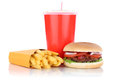 Hamburger and fries menu meal combo fast food drink Royalty Free Stock Photo