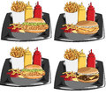 Hamburger and fries set of four Stock Photography