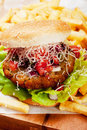 Hamburger with grated cheese classic tomato and served french fries Royalty Free Stock Photo