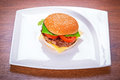 Hamburger with grilled beef cheese and vegetables Stock Photo