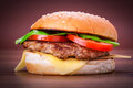 Hamburger with grilled beef cheese and vegetables Royalty Free Stock Photo