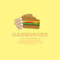 Hamburger hand holding a vector illustration eps Stock Photos