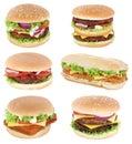 Hamburger isolated collection set cheeseburger tomatoes lettuce Royalty Free Stock Photo