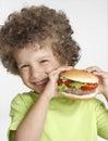 Hamburger kid. Royalty Free Stock Photo